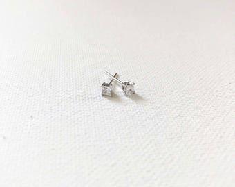 Tiny CZ Sterling Silver Dainty Earrings
