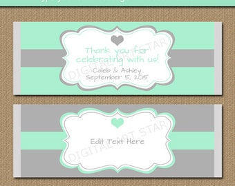 Mint and Grey Chocolate Bar Wrappers, Printable Bridal Candy Bar Wrappers, Wedding Party Favors, Anniversary Candy Labels, Party Favor Ideas