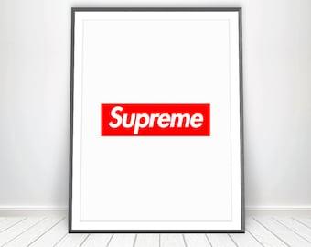 Digital Print * Supreme Poster Supreme Box Logo Vogue Poster Supreme Art Supreme Print Red Art Supreme Wall Art Fashion Poster Printable