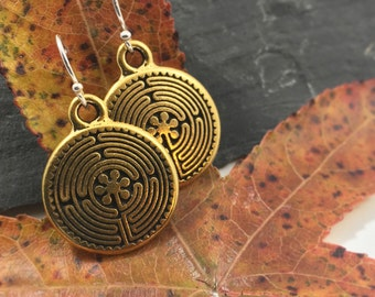 All Who Wander are Not Lost, Gold Labyrinth Earrings Everyday Jewelry Christmas Gift Women Her Stocking Stuffer New Harmony USI Journey
