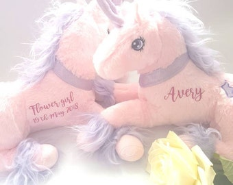 Unicorn, flower girl gift, personalized unicorn, bridesmaid gift, unicorn birthday, soft toy, wedding gift, personalized gift, custom made