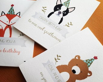 Party Animals, set of 6 birthday cards