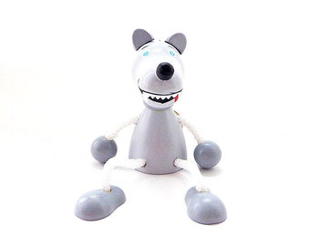 Gray Wolf wooden hanging toy, russian hanmade animal dangling doll