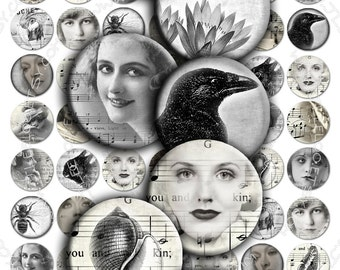 Digital collage EYES in THE FOG 1 inch circle black white woman romantic for pendant clipart magnet instant download printable - tn187