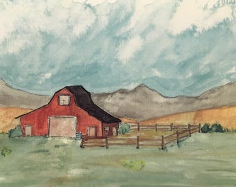 Open Spaces: Red Barn in Valley