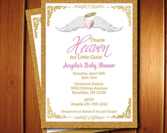 Thank Heaven for Little Girls Baby Shower Invitations - Unique Baby Shower Invitations