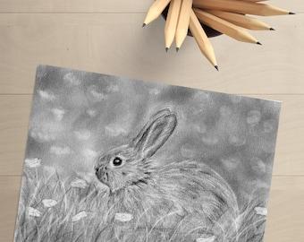 Rabbit Drawing - Bunny Drawing - Bunny Rabbit - Easter Decor - Rabbit Decor - Rabbit Wall Art - Bunny Wall Art - Bunny Decor - Woodland Art