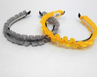 Ruffle Headband Grey and Yellow Wreath For Women and Girls Grey and Yellow Summer Spring Hair Accessory