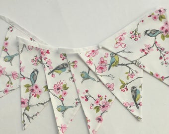 Fabric Bunting , Birds and Pink Spring Blossoms, Easter Decor, Wedding Bunting, Photo Prop, Christening Decor, Double Sided flags