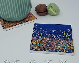 Original Design Ceramic Coaster with Art Print 'Midnight Garden'