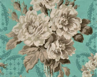 RJR Jardin Gris By Robyn Pandolph 2731 2 Vintage Rose Bouquet On Blue By The Yard