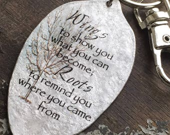 Wings to show you what you can become; Roots to remind you where you came from Keychain, Graduation Gift, Going Away Present, Goodbye Gift