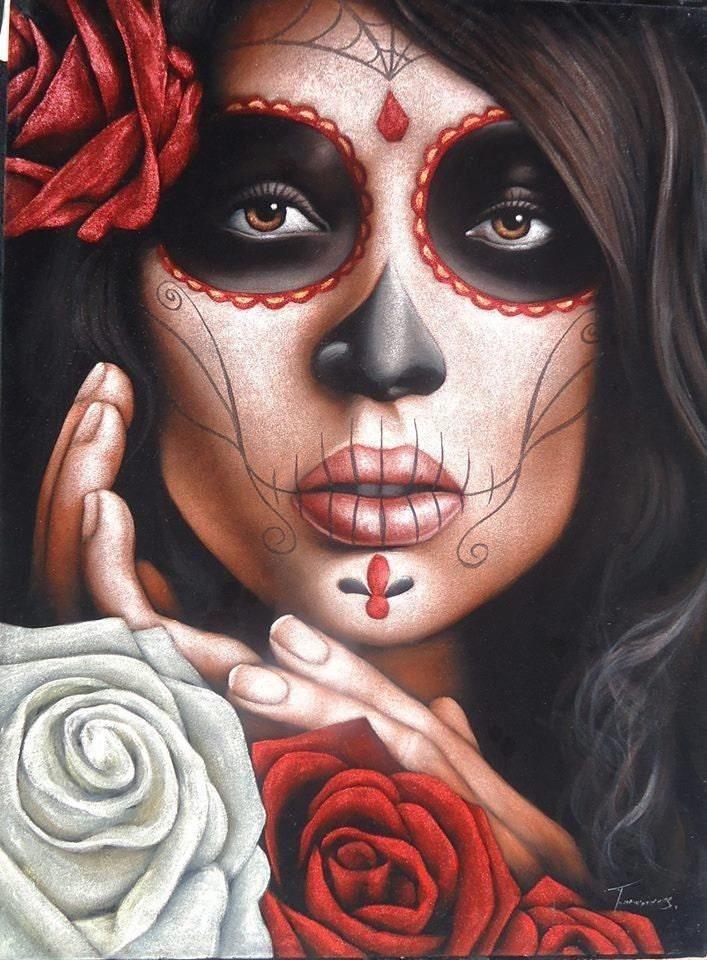 Catrina mexicana calavera niña terciopelo negro pintura al