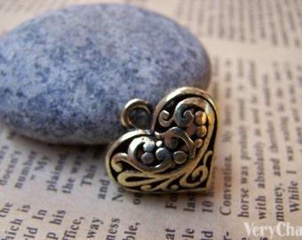 6 pcs of Antique Bronze 3D Filigree Swirly Heart Pendants  20x20mm A3018