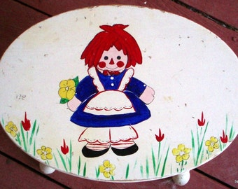 Vintage Raggedy Ann Hand Painted Footstool - Chippy Charm - Sweet Shabby Chic Child Decor