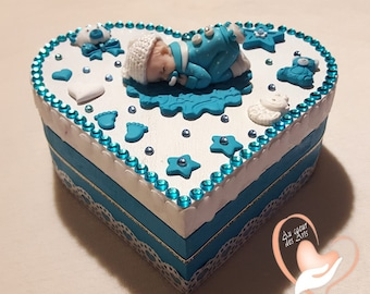 Baby boy, turquoise and white box