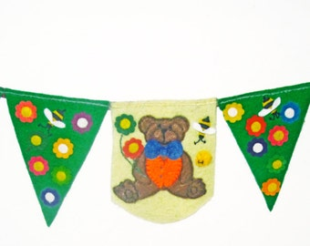 Teddy bears picnic nursery bedroom banner, childs felt bunting garland, handmade emerald green felt flags with teddy bear and flowers