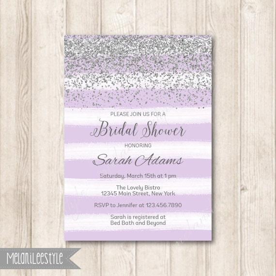 Lavender purple and silver bridal shower invitation modern filmwisefo