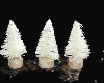 Off White Bottle Brush Christmas Tree decorations No6