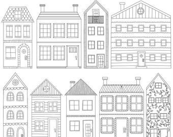 Townhouse Clip Art, Black Outline House Clipart, Handmade Digital Clip Art, Instant Digital Download