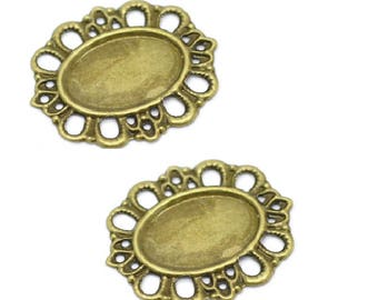 Set of 10 blank cabochon filigree connectors
