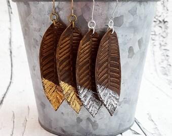 Feather Earrings, Leather Earrings, Leather Feather Earrings, Gold Dipped Leather Earrings, Silver Dipped Leather Earrings, Long Earrings