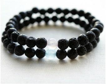 Raw Stone Bracelet  Couple Bracelets His and Hers Bracelet Set Essential Oil Diffuser Bracelets Black Lava Rose Quartz Aquamarine Yin Yang