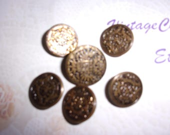 5 Vintage Metal Buttons, Vintage Sewing Buttons, Vintage Clothing Buttons