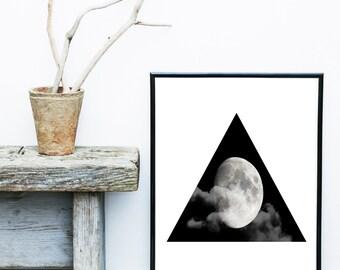 Moon Photo, Moon Print, Scandinavian Art Print, Abstract Art, Grey Wall Decor, Giclee print, Wall Art, Wall Decor