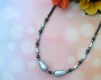 Haematite and miracle bead necklace with magnetic clasp