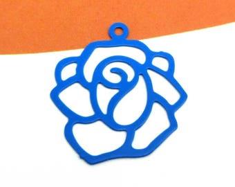 Set of 2 large Fine ultramarine blue filigree flower charms - 20 mm