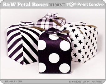 70% OFF SALE! - Black & White Petal Boxes - Printable Party Favor Boxes / Party Favor Set - Personal Use Only - Printable - DIY