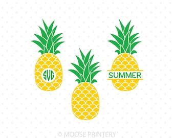 Pineapple SVG, Pineapple Monogram frame svg files, Pineapple svg cut files for Cricut, Silhouette svg cut files, svg file