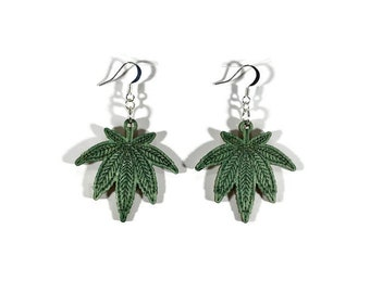 Cannabis earrings, green stained wodd Silver plated, 420, leaf, wooden, marijuana, dispensary, gift for her, stoner, jewelry, merchandise