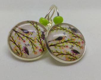 floral earrings Silver 925 cabochon, birds and branches