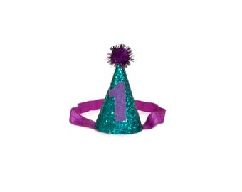 Turquoise and Purple Party Hat, Little Mermaid Inspired First Birthday Hat, First Birthday Party Hat, Glitter Hat, Cone Hat, Mini Party Hat