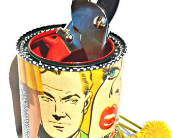 """Upcycled Pop Art Canister Hand-Painted Recycled Roy Lichtenstein Decoupage """"Paulie's Confession"""" Eco-Friendly Freckles Original Mixed Media"""