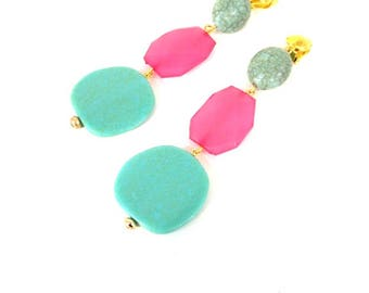 Pink and Aqua Bead Drop Clip-on Statement Earrings