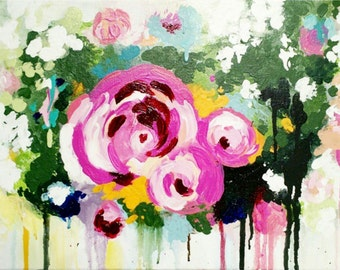 Abstract Floral Acrylic Painting - Roses, pink, flowers, expressionism, modern art, home decor