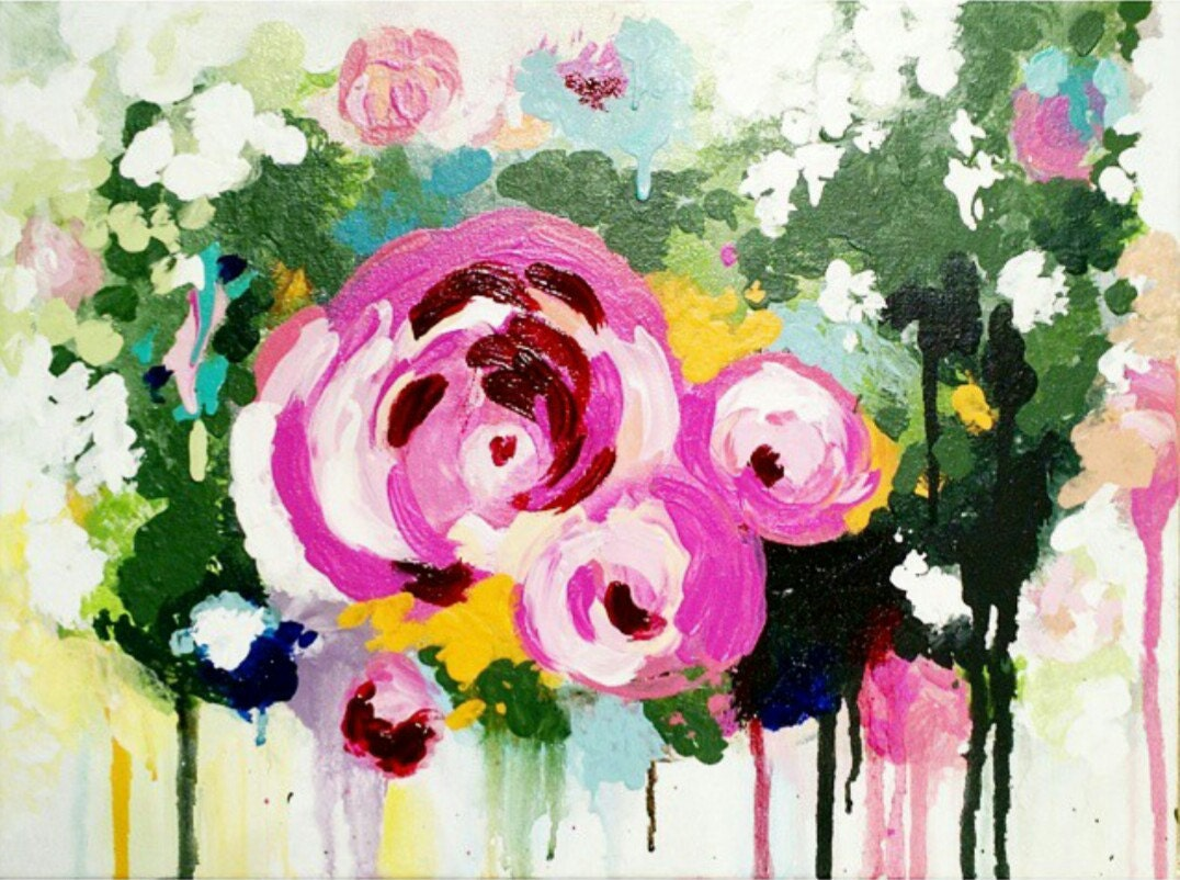 Abstract floral acrylic painting roses pink flowers zoom mightylinksfo