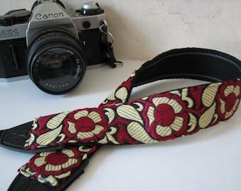 MERLOT, Camera Neck Strap with VINTAGE Floral Design