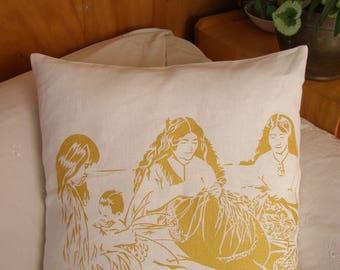 Maori Flax Weavers. NZ. White Cushion Cover, Pillow Case. 100% Linen. Gold Print. Green Print. Hand pulled screen print.