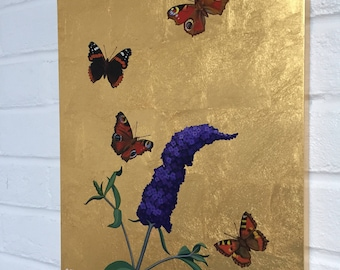 Butterflies and Buddleia on double gilded 23.5ct gold aluminium bespoke cradled panel