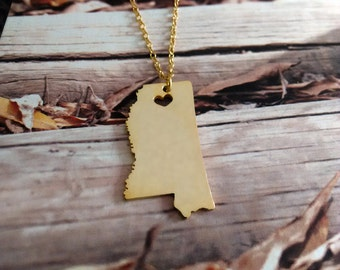 Gold MS State Necklace,Mississippi State Necklace,Mississippi State Charm Necklace, State Shaped Necklace Custom Necklace With A Heart