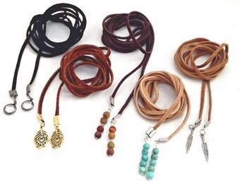 Wrap Choker, Wrap Choker Necklace, Boho Leather Choker, Boho Wrap Necklace, Leather Wrap Choker, Black Wrap Choker, Lariat Choker, Trendy