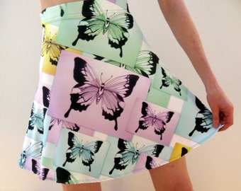 skirts with butterfly prints, butterfly art, drawings of butterflies, butterfly paintings, butterfly prints, skirts with yellow, pink , blue