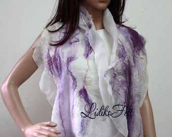 Women Nuno Felted Silk Scarf Shawl Wrap WHITE LILAC PURPLE