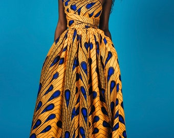 """A659/ 6 yards Vlisco Yellow and Blue  """" Peacock/ Bulb"""" Design African Fabric/ African Wax print"""