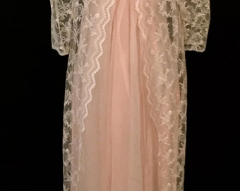 60's Pink and White Lace  Maxi         VG38