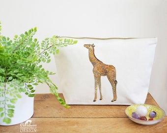 Giraffe Canvas Wash Bag, Large Zipper Pouch, Makeup Bag, Toiletry Bag, Accessory Bag, Giraffe Gift
